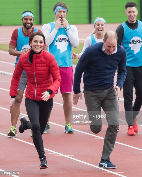 Catherine Duchess of Cambridge and Prince Wiliam Duke of Cambridge take part in a race during a training day for the Heads Together team for the...