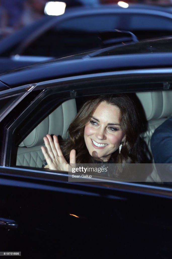 Catherine, Duchess of Cambridge and Prince William departs after attending a reception with creatives at 'Claerchens Ballhaus' the last original dancehall in Berlin on the second day of their visit to Germany on July 20, 2017 in Berlin, Germany. The royal couple are on a three-day trip to Germany that includes visits to Berlin, Hamburg and Heidelberg.