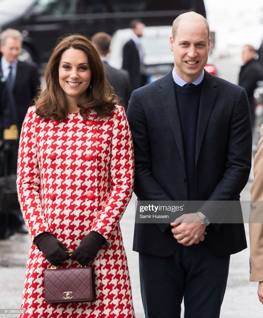 Catherine, Duchess of Cambridge and Prince William, Duke of Cambridge a visit the Karolinska Institute to meet with academics and practitioners to discuss Sweden's approach to managing mental health challenges during day two of their Royal visit to Sweden and Norway on January 31, 2018 in Stockholm, Sweden.