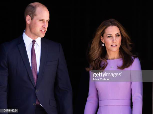 Catherine Duchess of Cambridge and Prince William Duke of Cambridge leave the Global Ministerial Mental Health Summit at London County Hall on...