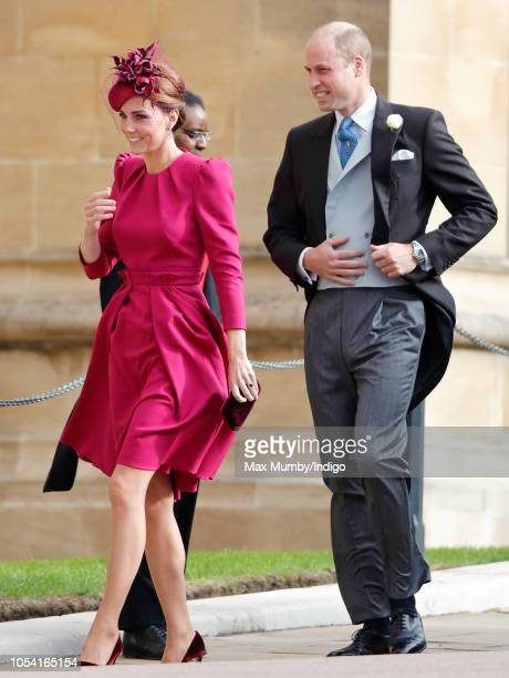 Catherine Duchess of Cambridge and Prince William Duke of Cambridge attend the wedding of Princess Eugenie of York and Jack Brooksbank at St George's...
