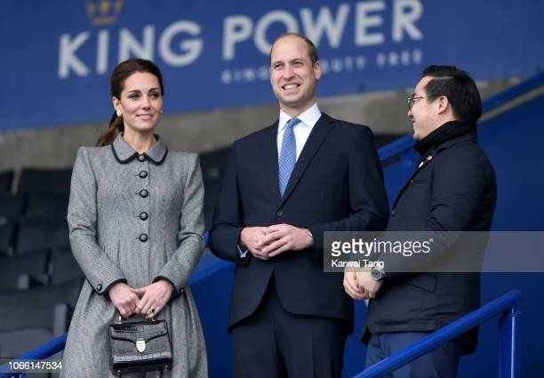 Catherine Duchess of Cambridge and Prince William Duke of Cambridge with Aiyawatt Srivaddhanaprabha arrive at Leicester City Football Club to pay...