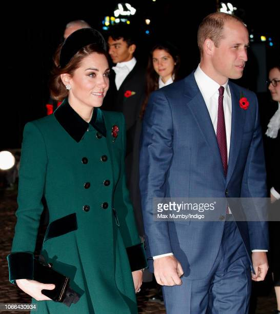 Catherine, Duchess of Cambridge and Prince William, Duke of Cambridge attend a service to mark the centenary of the Armistice at Westminster Abbey on...