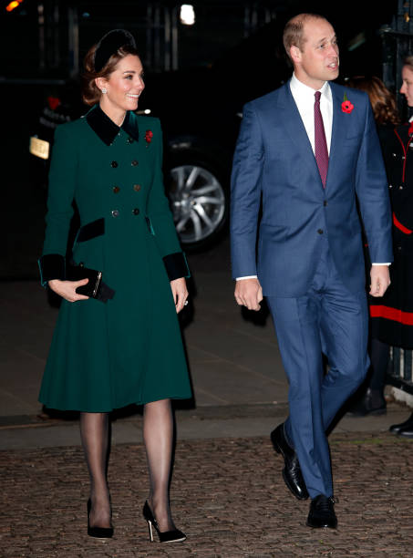 Catherine Duchess of Cambridge and Prince William Duke of Cambridge attend a service to mark the centenary of the Armistice at Westminster Abbey on...