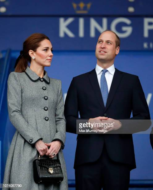 Catherine Duchess of Cambridge and Prince William Duke of Cambridge visit Leicester City Football Club's King Power Stadium to pay tribute to those...