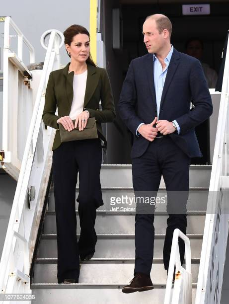 Catherine Duchess of Cambridge and Prince William Duke of Cambridge arrive at RAF Akrotiri to meet with serving personnel families living on the base...