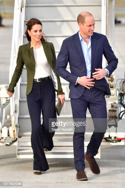 Catherine Duchess of Cambridge and Prince William Duke of Cambridge arrive for an official visit to RAF Akrotiri on December 05 2018 in Akrotiri...