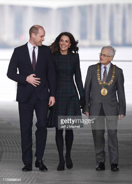 Catherine Duchess of Cambridge and Prince William Duke of Cambridge arrive to officially open VA Dundee on January 29 2019 in Dundee Scotland