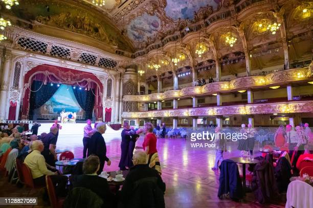 Catherine, Duchess of Cambridge and Prince William, Duke of Cambridge watch a dance in the ballroom during a visit to the Blackpool Tower on March...