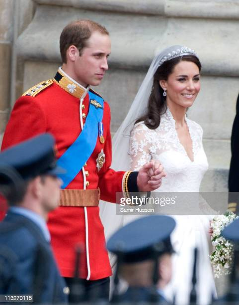 Catherine Duchess of Cambridge and Prince William Duke of Cambridge leave after their Wedding at Westminster Abbey on April 29 2011 in London England