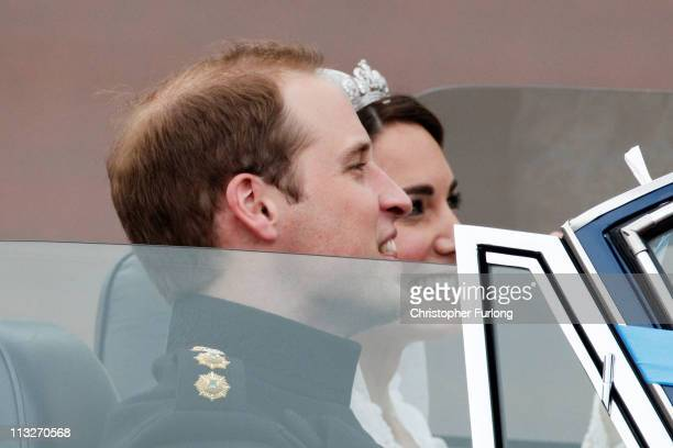 Catherine Duchess of Cambridge and Prince William Duke of Cambridge leave Buckingham Palace on April 29 2011 in London England The marriage of the...