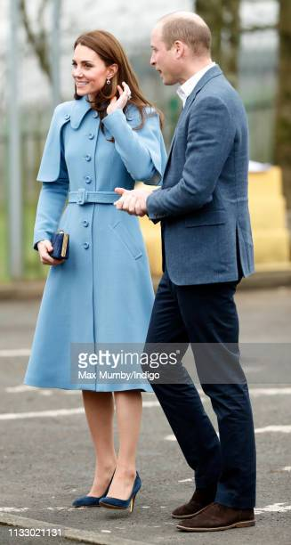 Catherine, Duchess of Cambridge and Prince William, Duke of Cambridge visit St Joseph's SureStart Facility on February 28, 2019 in Ballymena,...