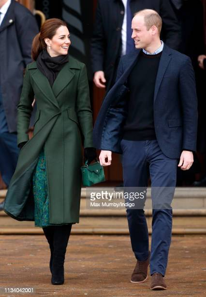 Catherine Duchess of Cambridge and Prince William Duke of Cambridge visit Blackpool Tower and greet members of the public on the Comedy Carpet on...