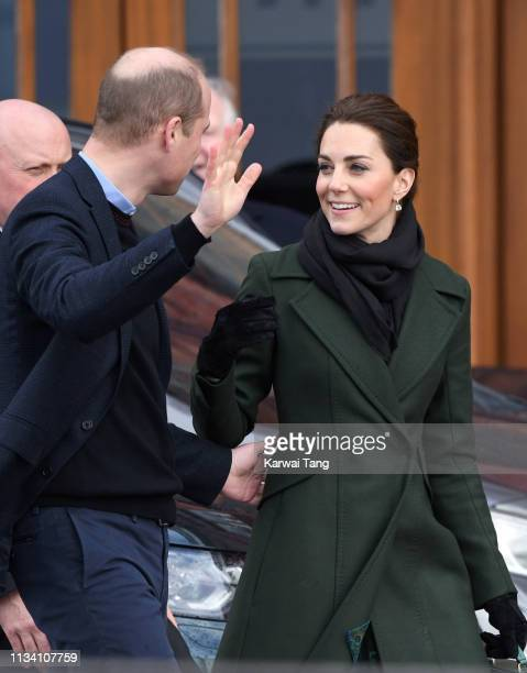 Catherine, Duchess of Cambridge and Prince William, Duke of Cambridge depart after visiting Blackpool Tower on March 06, 2019 in Blackpool, England.