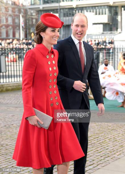 Catherine, Duchess of Cambridge and Prince William, Duke of Cambridge attend the Commonwealth Day service at Westminster Abbey on March 11, 2019 in...