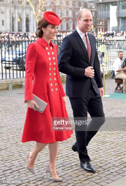 Catherine Duchess of Cambridge and Prince William Duke of Cambridge attend the Commonwealth Day service at Westminster Abbey on March 11 2019 in...
