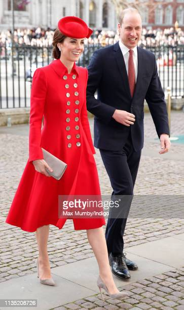Catherine Duchess of Cambridge and Prince William Duke of Cambridge attend the 2019 Commonwealth Day service at Westminster Abbey on March 11 2019 in...