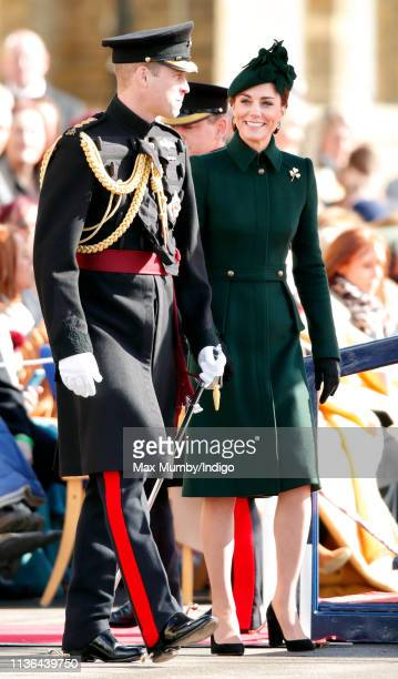 Catherine, Duchess of Cambridge and Prince William, Duke of Cambridge attend the 1st Battalion Irish Guards St Patrick's Day Parade at Cavalry...