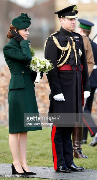 Catherine Duchess of Cambridge and Prince William Duke of Cambridge attend the 1st Battalion Irish Guards St Patrick's Day Parade at Cavalry Barracks...