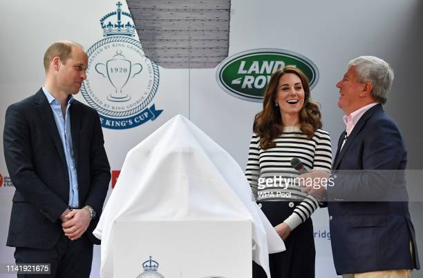 Catherine Duchess of Cambridge and Prince William Duke of Cambridge attend the launch the King's Cup Regatta at Cutty Sark Greenwich on May 7 2019 in...