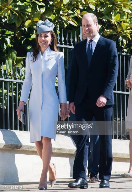 Catherine Duchess of Cambridge and Prince William Duke of Cambridge attend Easter Sunday service at St George's Chapel on April 21 2019 in Windsor...