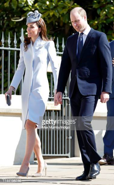 Catherine, Duchess of Cambridge and Prince William, Duke of Cambridge attend the traditional Easter Sunday church service at St George's Chapel,...