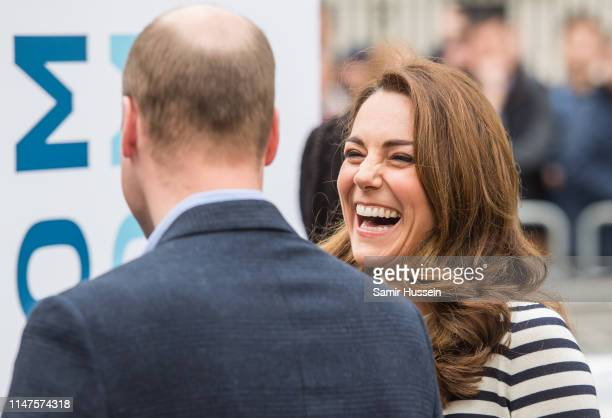 Catherine Duchess of Cambridge and Prince William Duke of Cambridge arrive to launch the Kings Cup Regatta at Cutty Sark Greenwich London on May 07...