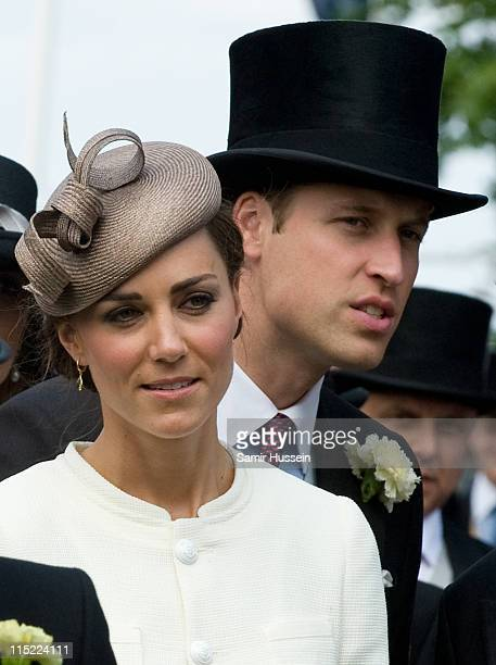 Catherine, Duchess of Cambridge and Prince William, Duke of Cambridge attend the 2011 Epsom Derby at Epsom racecourse on June 4, 2011 in Epsom,...