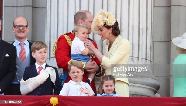 Catherine Duchess of Cambridge and Prince William Duke of Cambridge on the balcony of Buckingham Palace during Trooping The Colour the Queen's annual...