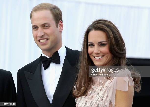 Catherine Duchess of Cambridge and Prince William Duke of Cambridge arrive at the ARK 10th Anniversary Gala Dinner at Perk's Field on June 9 2011 in...