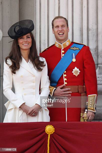 Catherine Duchess of Cambridge and Prince William Duke of Cambridge join HM Queen Elizabeth II to celebrates her official birthday by taking part in...