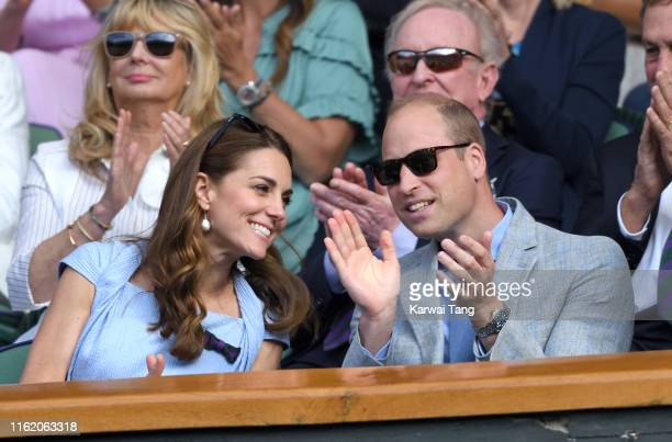 Catherine Duchess of Cambridge and Prince William Duke of Cambridge in the Royal Box on Centre court during Men's Finals Day of the Wimbledon Tennis...