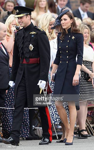 Catherine, Duchess of Cambridge and Prince William, Duke of Cambridge attend the Irish Guards Medal Parade at the Victoria Barracks on June 25, 2011...
