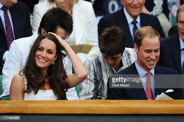 Catherine Duchess of Cambridge and Prince William Duke of Cambridge attend the fourth round match between Andy Murray of Great Britain and Richard...