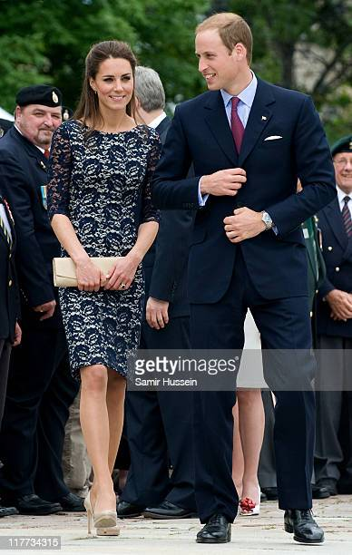 Catherine, Duchess of Cambridge and Prince William, Duke of Cambridge attend the wreath laying ceremony at the National War Memorial on day 1 on the...