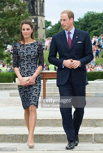 Catherine Duchess of Cambridge and Prince William Duke of Cambridge attend the wreath laying ceremony at the National War Memorial on day 1 on the...