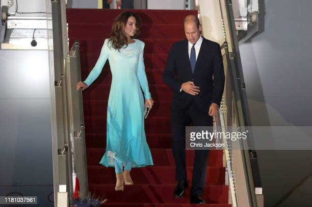 Catherine, Duchess of Cambridge and Prince William, Duke of Cambridge arrive at Kur Khan airbase ahead of their royal tour of Pakistan on October 14,...
