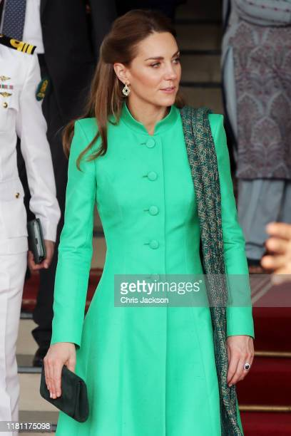 Catherine Duchess of Cambridge and Prince William Duke of Cambridge leave after meeting Pakistan's Prime Minister Imran Khan at his official...