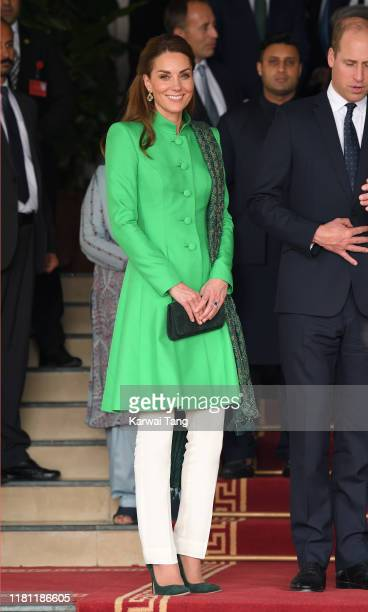Catherine Duchess of Cambridge and Prince William Duke of Cambridge pose after visiting the Prime Minister of Pakistan Imran Khan for an a official...