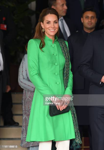 Catherine, Duchess of Cambridge and Prince William, Duke of Cambridge pose after visiting the Prime Minister of Pakistan Imran Khan for an a official...