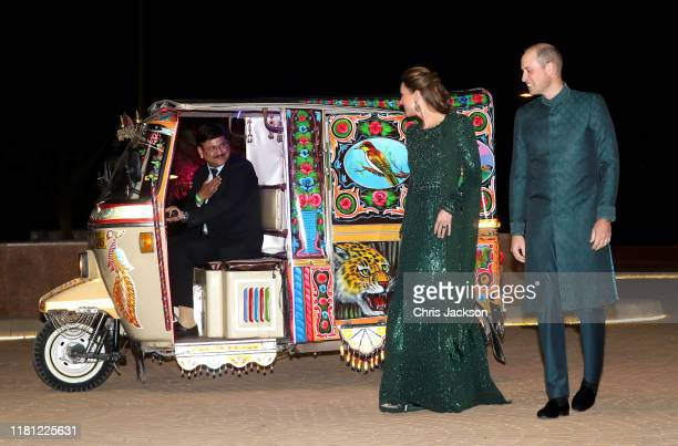 Catherine Duchess of Cambridge and Prince William Duke of Cambridge arrive by Tuk Tuk as they attend a special reception hosted by the British High...