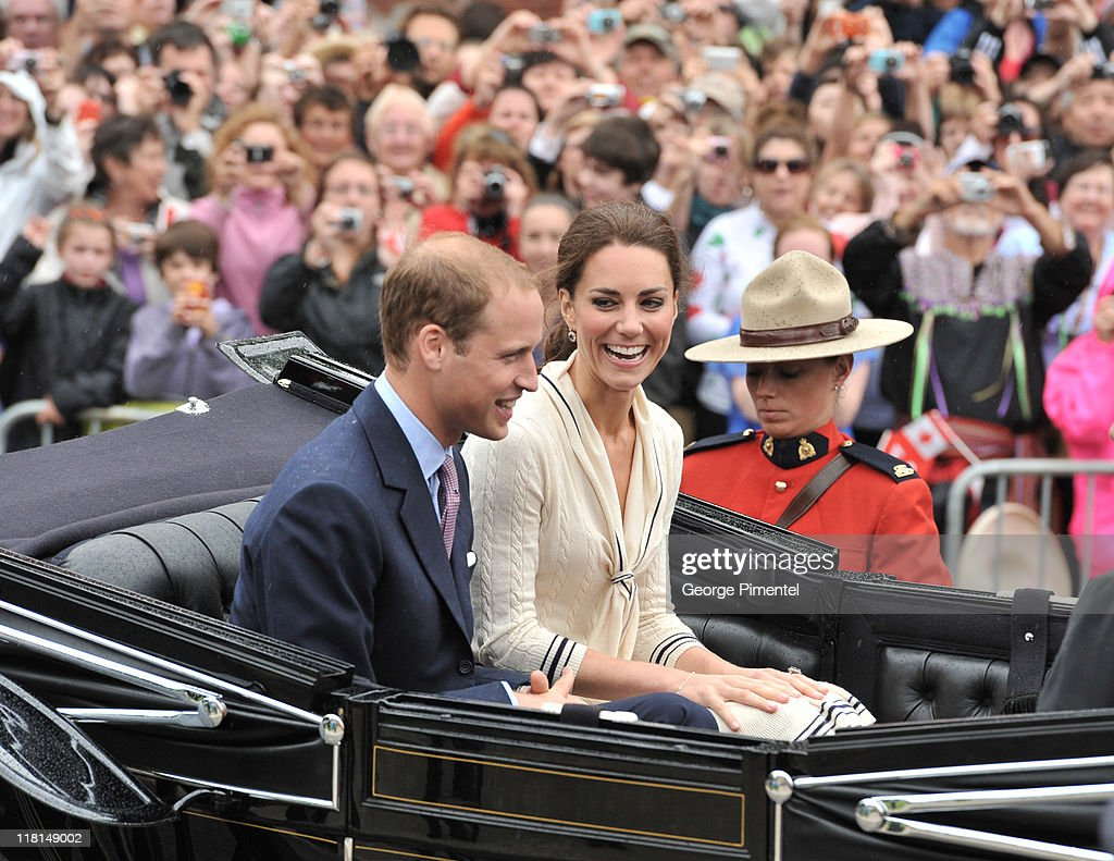 Catherine, Duchess of Cambridge and Prince William, Duke of Cambridge arrive by carriage as they visit the Province House on July 5, 2011 in Charlottetown, Canada.