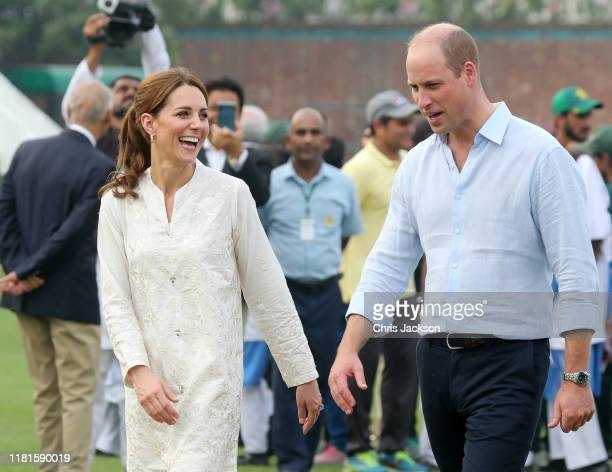 Catherine Duchess of Cambridge and Prince William Duke of Cambridge joke during their visit at the National Cricket Academy during day four of their...