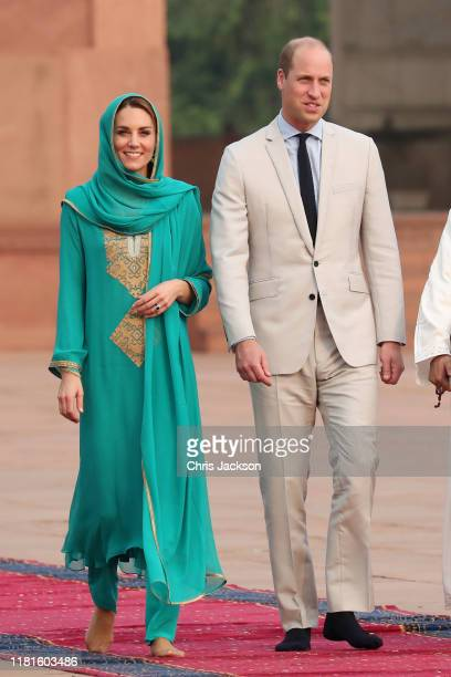 Catherine, Duchess of Cambridge and Prince William, Duke of Cambridge visit the Badshahi Mosque within the Walled City during day four of their royal...