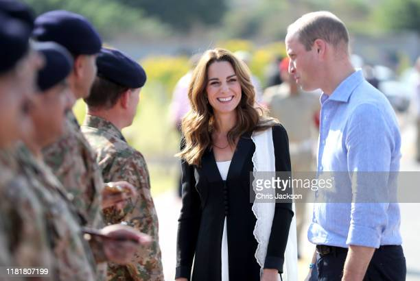 Catherine Duchess of Cambridge and Prince William Duke of Cambridge smile as they visit an Army Canine Centre where the UK provides support to a...