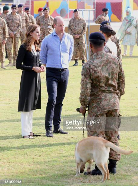 Catherine Duchess of Cambridge and Prince William Duke of Cambridge visit an Army Canine Centre where the UK provides support to a programme that...