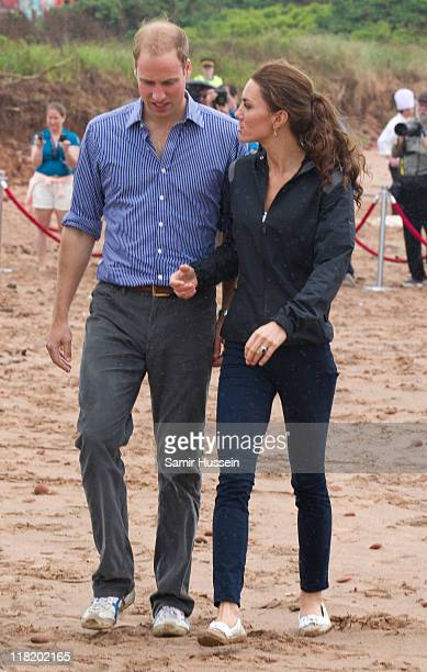 Catherine Duchess of Cambridge and Prince William Duke of Cambridge visit the beach and try culinary stations on day 5 of the Royal Couple's North...