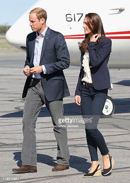 Catherine Duchess of Cambridge and Prince William Duke of Cambridge board a Canadian Airforce jet to Slave Lake at Yellowknife Airport on July 6 2011...