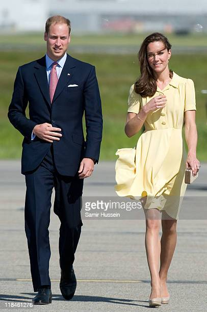 Catherine Duchess of Cambridge and Prince William Duke of Cambridge arrive at Calgary Airport on day 8 of the Royal couple's tour of North America on...