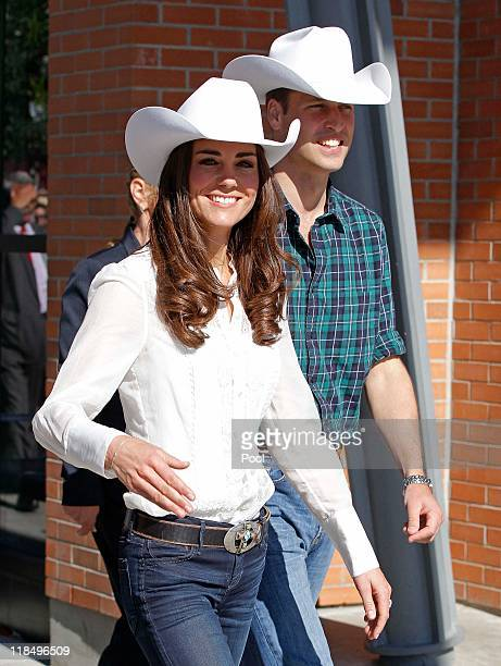 Catherine Duchess of Cambridge and Prince William Duke of Cambridge leave after the lauch of the Calgary Stampede on July 8 2011 in Calgary Canada...
